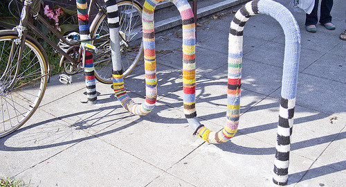yarnbombed bike rack